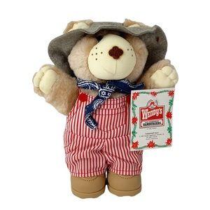 Vintage 1986 Furskins farmer teddy bear doll NOS